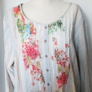 Soft Surroundings Tunic XL Floral Trim